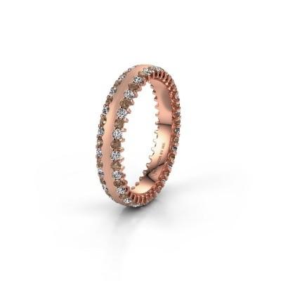Trouwring WH2139L24B 375 rosé goud bruine diamant ±4x2 mm