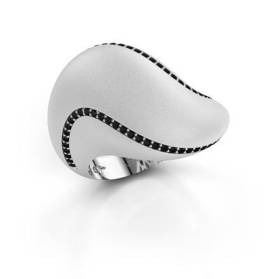 Foto van Ring Phyliss 585 witgoud zwarte diamant 0.432 crt