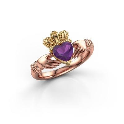 Picture of Ring Claddagh 2 585 rose gold amethyst 6 mm