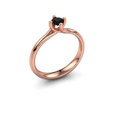 Foto van Verlovingsring Dewi Round 375 rosé goud zwarte diamant 0.30 crt