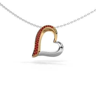 Halsketting Heart 1 585 goud robijn 1.2 mm