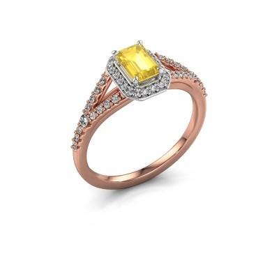 Verlovingsring Pamela EME 585 rosé goud gele saffier 6x4 mm