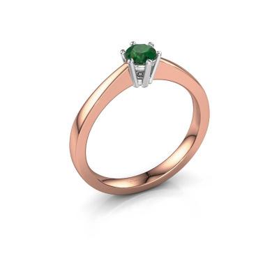 Verlobungsring Noortje 585 Roségold Smaragd 4 mm