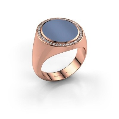 Signet ring Adam 5 375 rose gold light blue sardonyx 15x13 mm