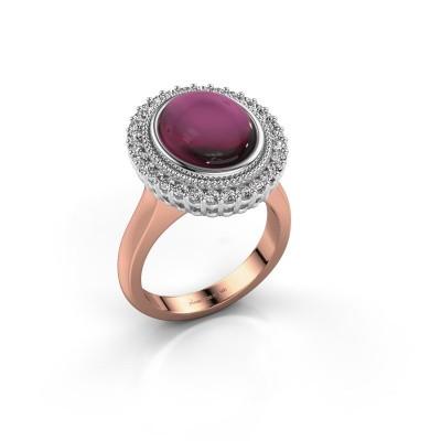 Ring Mila 585 rosé goud rhodoliet 12x10 mm