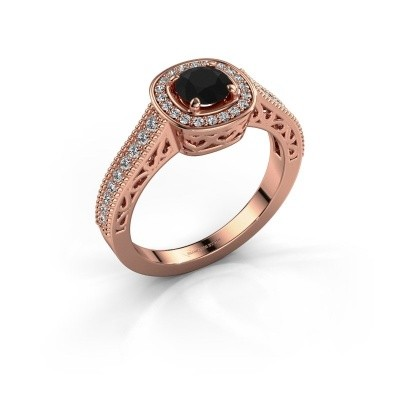 Verlovings ring Candi 375 rosé goud zwarte diamant 0.875 crt