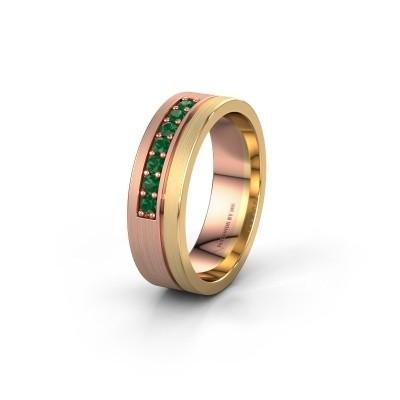 Trouwring WH0312L16AM 585 rosé goud smaragd ±6x1.7 mm