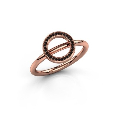 Ring Shape round large 375 rosé goud zwarte diamant 0.09 crt