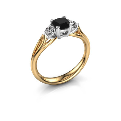 Verlovingsring Amie cus 585 goud zwarte diamant 0.900 crt