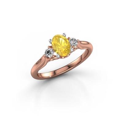 Foto van Verlovingsring Laurian OVL 585 rosé goud gele saffier 7x5 mm