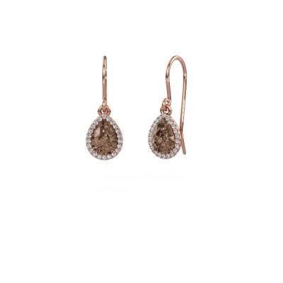 Oorhangers Seline per 375 rosé goud bruine diamant 0.65 crt