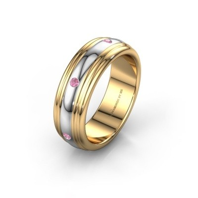 Wedding ring WH2236L 585 gold pink sapphire ±6x2.2 mm