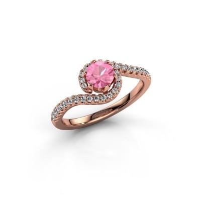 Foto van Verlovingsring Elli 375 rosé goud roze saffier 5 mm