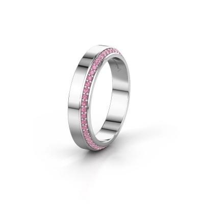 Trouwring WH2106L14C 585 witgoud roze saffier ±4x2.2 mm