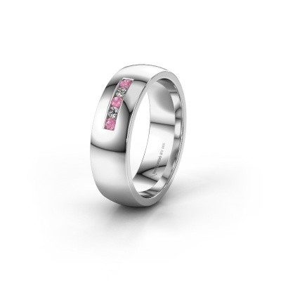 Wedding ring WH0107L26BP 925 silver pink sapphire ±6x2 mm