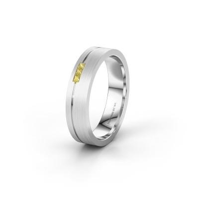 Trouwring WH0158L14X 925 zilver gele saffier ±4,5x1.4 mm