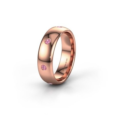 Wedding ring WH0105L36BP 375 rose gold pink sapphire ±6x2 mm