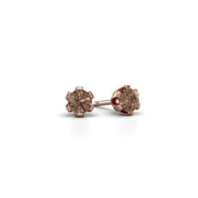 Foto van Oorstekers Julia 375 rosé goud bruine diamant 0.25 crt