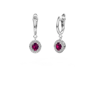 Drop earrings Nakita 950 platinum rhodolite 5x4 mm