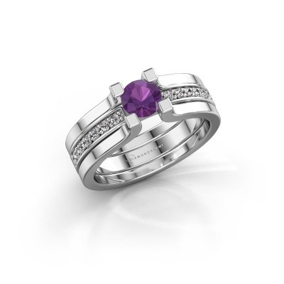 Picture of Engagement ring Myrthe 585 white gold amethyst 5 mm