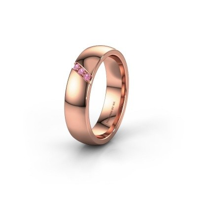 Trouwring WH0174L25BP 375 rosé goud roze saffier ±5x2 mm