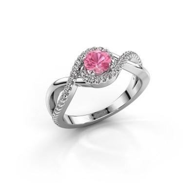 Foto van Verlovingsring Melody 925 zilver roze saffier 5 mm