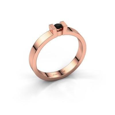 Verlovingsring Lieve 1 375 rosé goud zwarte diamant 0.12 crt