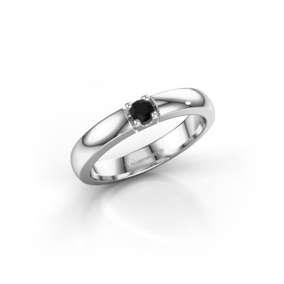 Picture of Engagement ring Rianne 1 585 white gold black diamond 0.12 crt