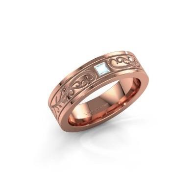 Foto van Heren ring Matijs 375 rosé goud aquamarijn 3 mm