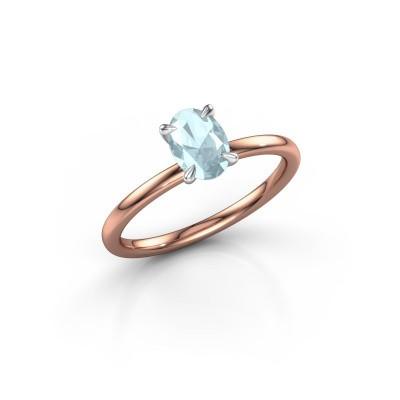 Foto van Verlovingsring Crystal OVL 1 585 rosé goud aquamarijn 7x5 mm