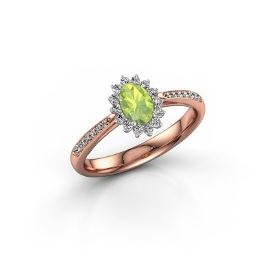 Picture of Engagement ring Tilly ovl 2 585 rose gold peridot 6x4 mm