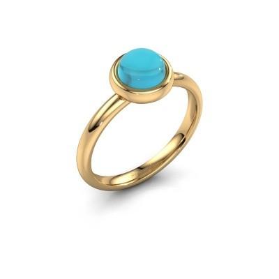Ring Blossom 585 goud blauw topaas 6 mm