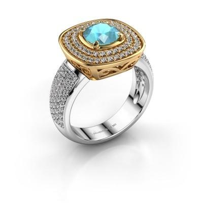 Ring Eliana 585 goud blauw topaas 6 mm
