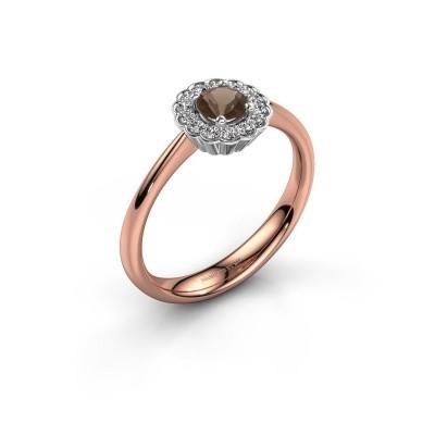 Verlovingsring Debi 585 rosé goud rookkwarts 4.2 mm