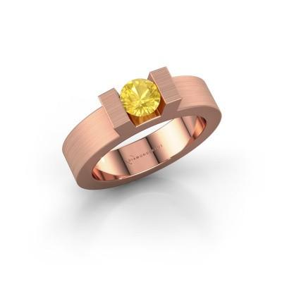 Foto van Ring Leena 1 375 rosé goud gele saffier 5 mm