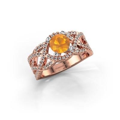 Verlovingsring Jeni 585 rosé goud citrien 6.5 mm