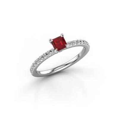 Foto van Verlovingsring Crystal ASS 2 585 witgoud robijn 4.5 mm