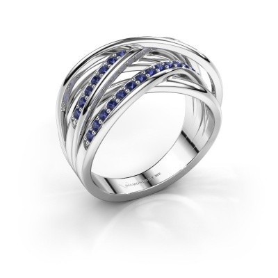 Ring Fem 2 950 platina saffier 1.5 mm