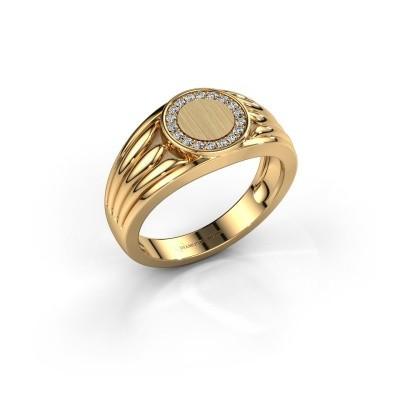 Foto van Pinkring Jacobus 585 goud zirkonia 1.2 mm