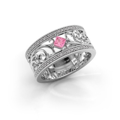 Ring Danae 950 platina roze saffier 3 mm