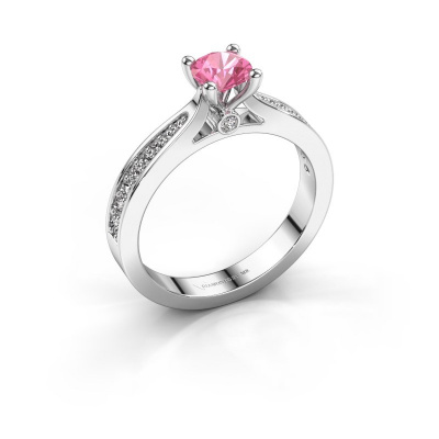 Engagement ring Evelien 585 white gold pink sapphire 5 mm