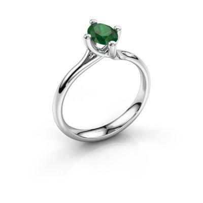 Engagement ring Dewi Oval 950 platinum emerald 7x5 mm