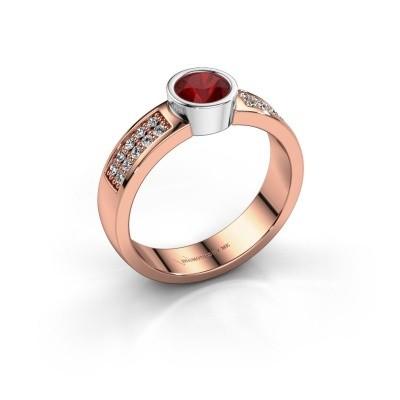 Verlovingsring Ise 3 585 rosé goud robijn 4.7 mm