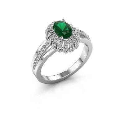 Verlovingsring Twila 585 witgoud smaragd 7x5 mm