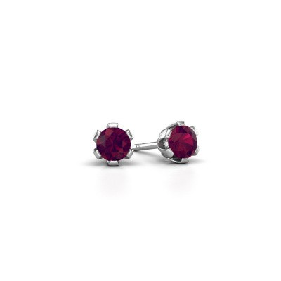 Photo de Clous d'oreilles Julia 375 or blanc rhodolite 4 mm