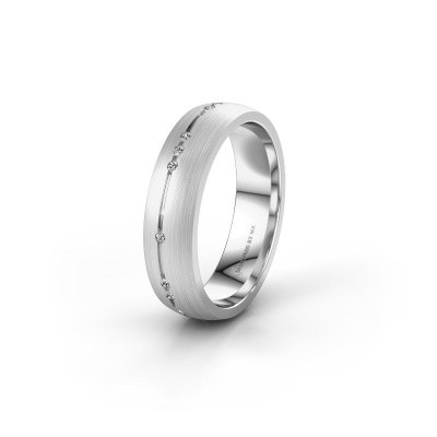 Trouwring WH0166L25A 585 witgoud diamant ±5x1.7 mm