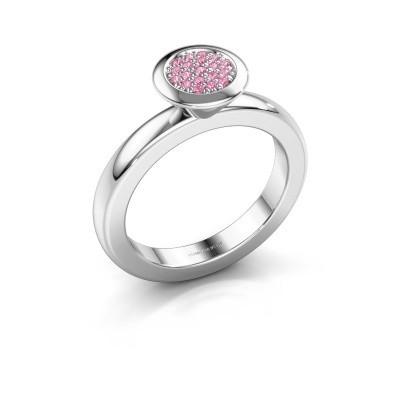Stapelring Rani 950 platina roze saffier 1 mm