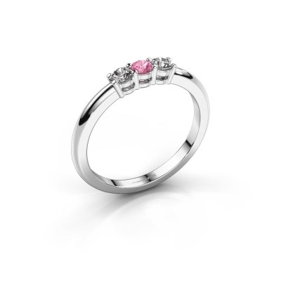 Foto van Verlovingsring Michelle 3 585 witgoud roze saffier 3 mm