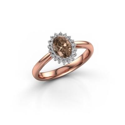 Engagement ring Tilly ovl 1 585 rose gold brown diamond 0.80 crt