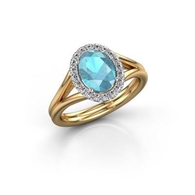 Engagement ring Rachele 1 585 gold blue topaz 8x6 mm
